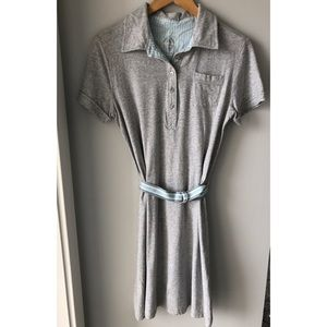 Merona Grey Cotton Casual Belted Dress